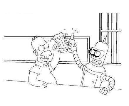 Láminas para Colorear - Coloring Pages: Homero Simpson para ...