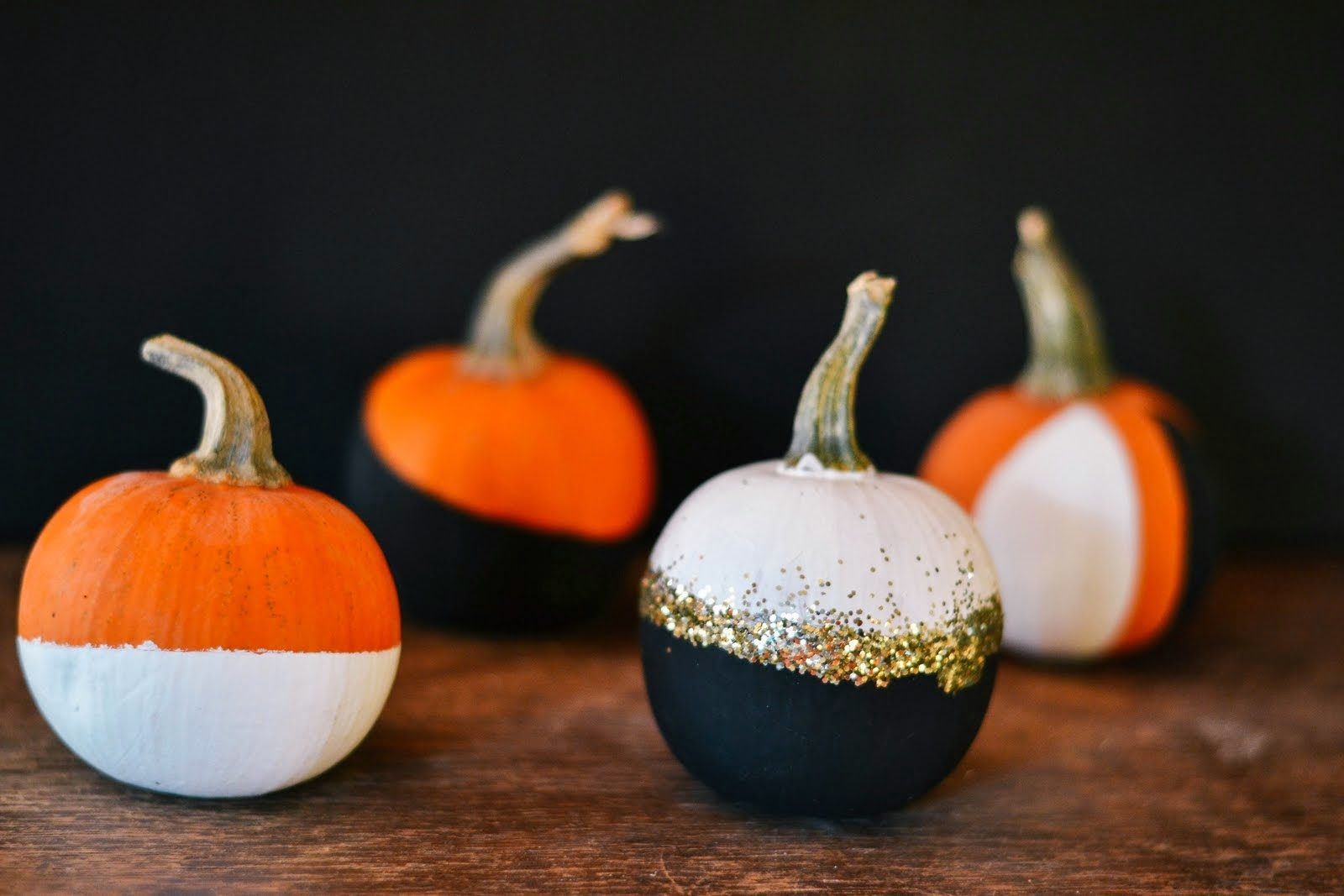 p s diy black and white painted pumpkins