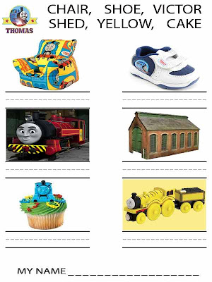 Instructive preschool childrens handwriting worksheets Thomas the train activities pages for boys