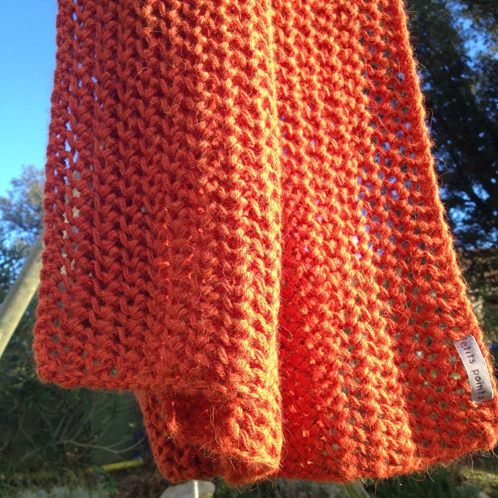 Echarpe alpaga drops ajourée orange - point turc