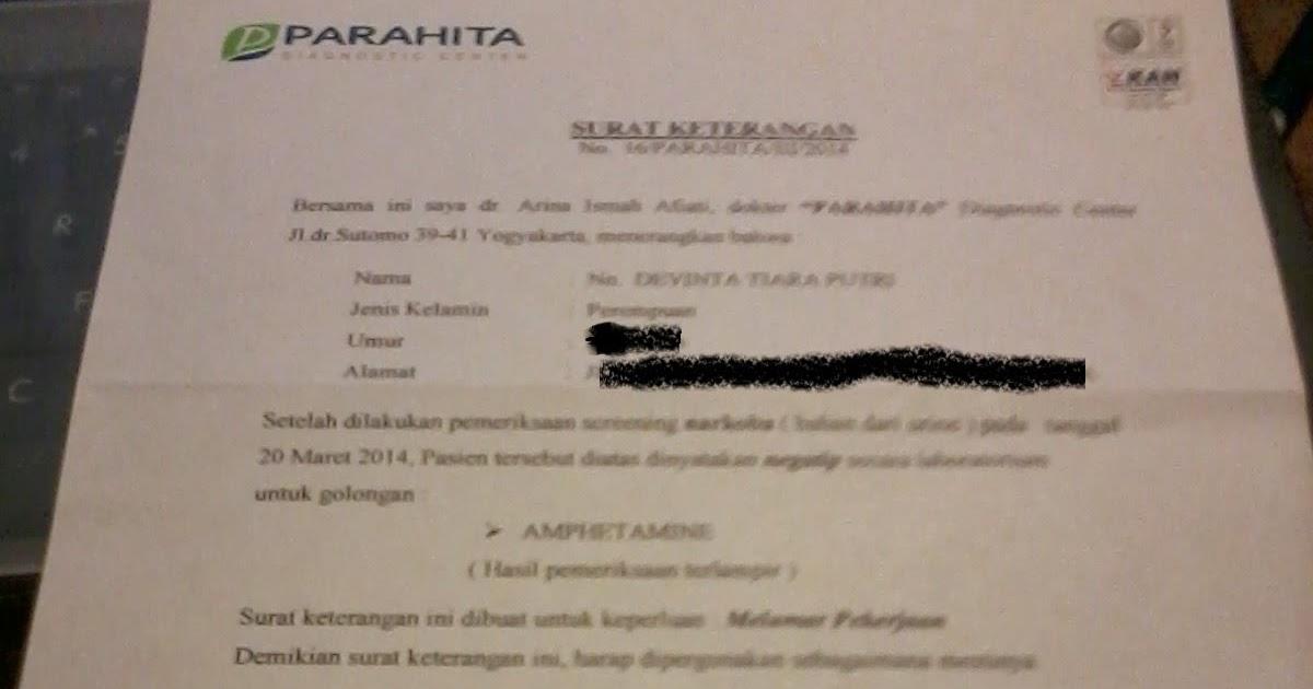 Surat Keterangan Bebas Narkoba Parahita Lab Dephintya
