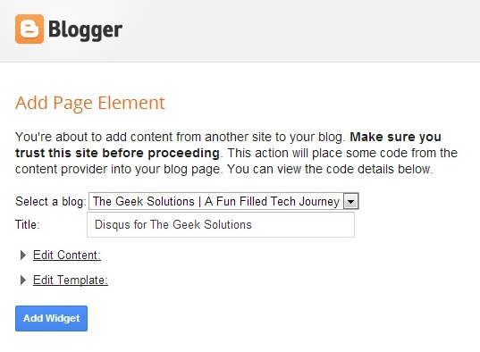 add widget on blogger