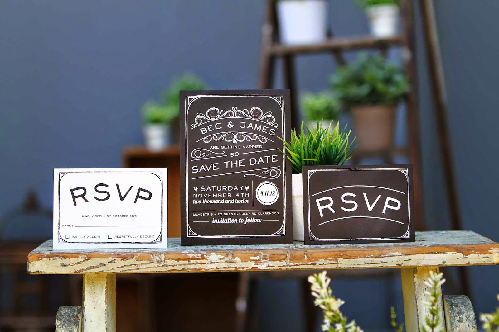 rustic wedding invitations adelaide chalkboard country