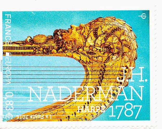 national musical instruments, stamp, france, harp