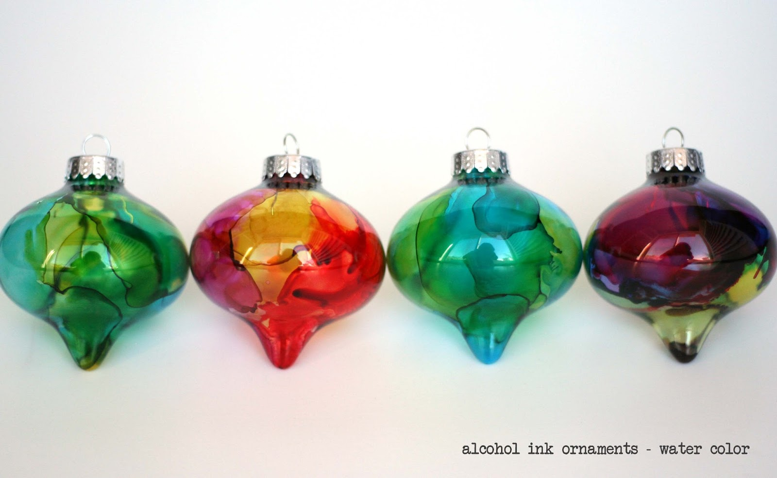 Homemade water color alcohol ink ornaments handmade ornaments no