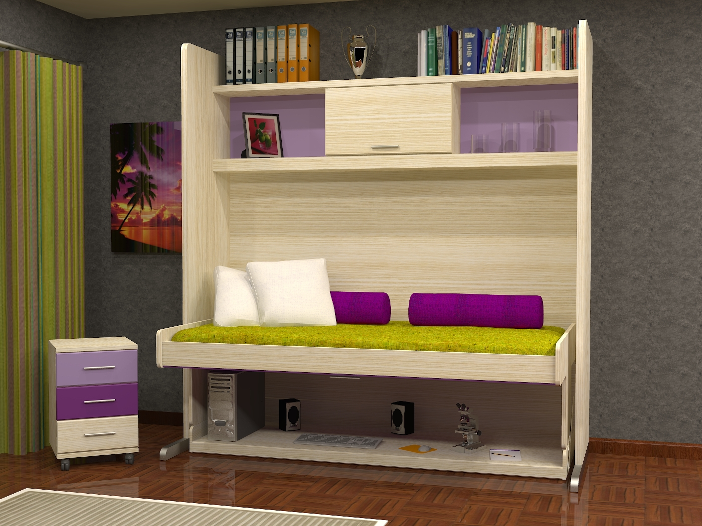 Cama mesa abatible camas autoportantes muebles parchis - Litera plegable pared ...