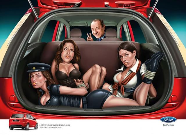 Il bozzetto della campagna Ford Figo per Ford India Ltd con Silvio Berlusconi, Francesca Pascale, Ruby Rubacuori e Nicole Minetti