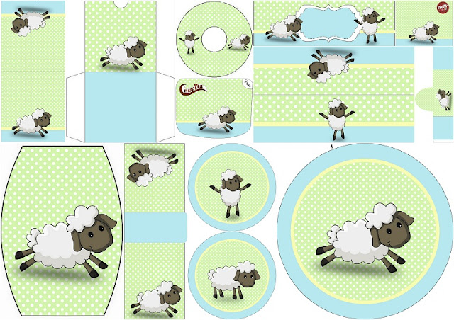 Cute Sheep in Light Blue and Green: Free Printable Candy Bar Labels.