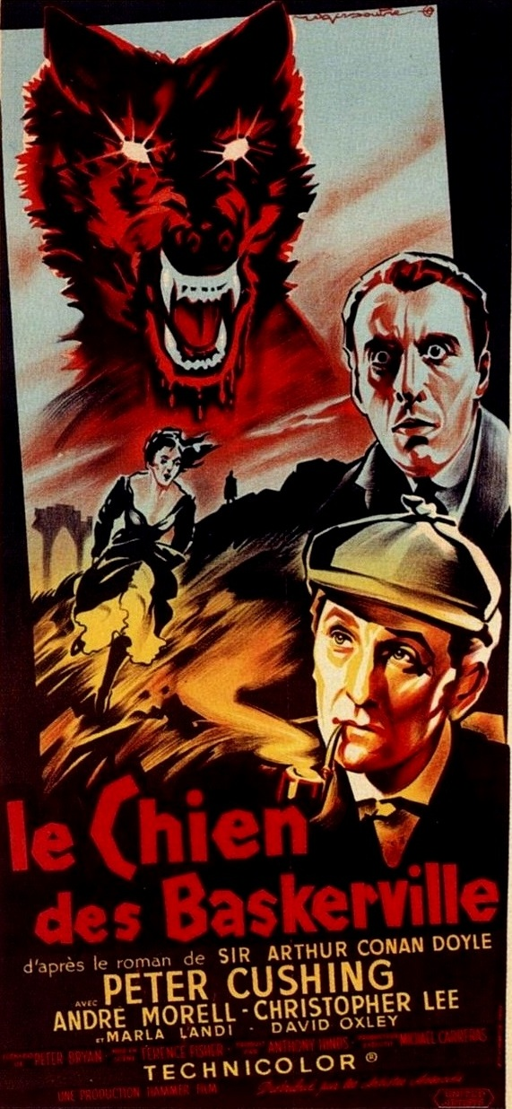 Sherlock Holmes - The Hound of the Baskervilles<br>The stage-bound, colorful images are an added treat, being as much a Hammer signature as the heaving breasts and blood.