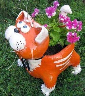 Macetero en forma de gato para decorar tu jardín o terraza