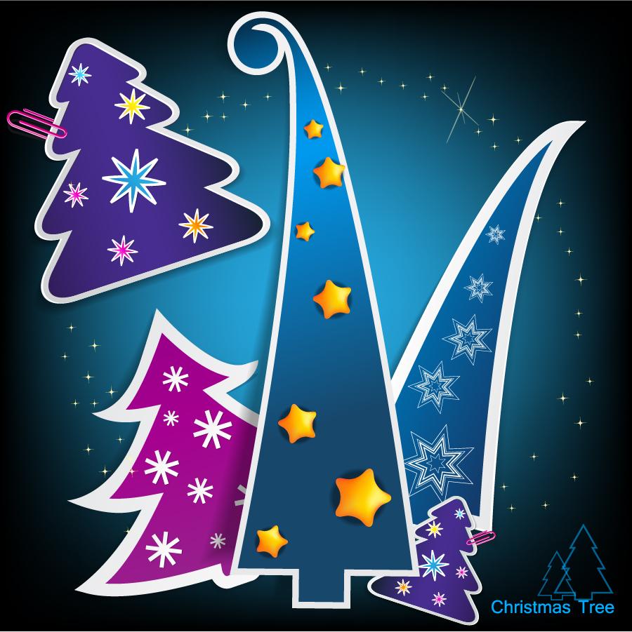 クリスマス・ツリーの切り抜きタグ christmas tree tags イラスト素材