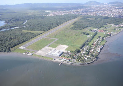 Área do futuro aeroporto do Guarujá