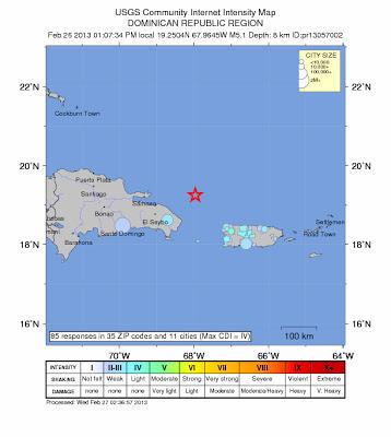 Epicentro sismo 5,2 grados en Republica Dominicana, 26 de Febrero de 2013