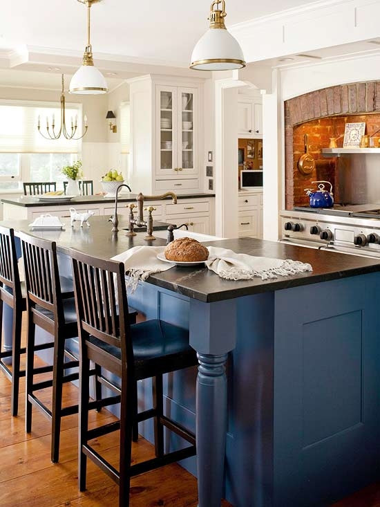 Modern furniture decorating design ideas 2012 with blue color for Blue kitchen paint color ideas