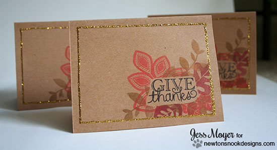 Give Thanks Bold Leaf card set by Jess Moyer for Newton's Nook Designs | Falling into Autumn Stamp Set