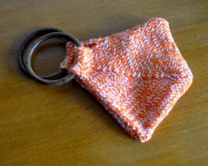 knitting triangular shaped purse for kids