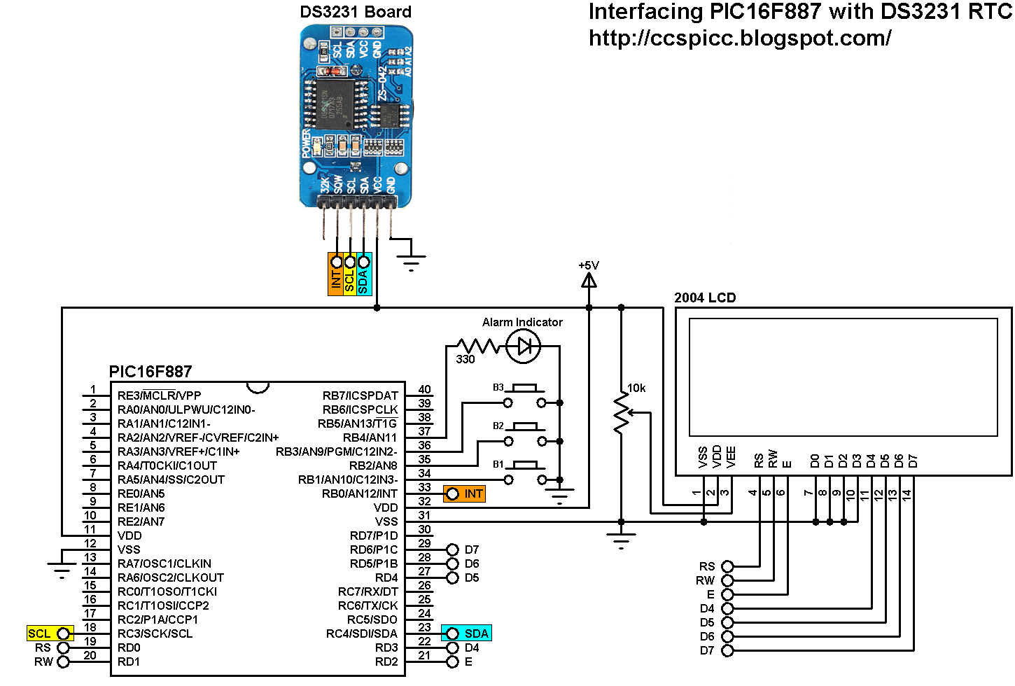 real time clock and temperature monitor using pic16f887 and ds3231