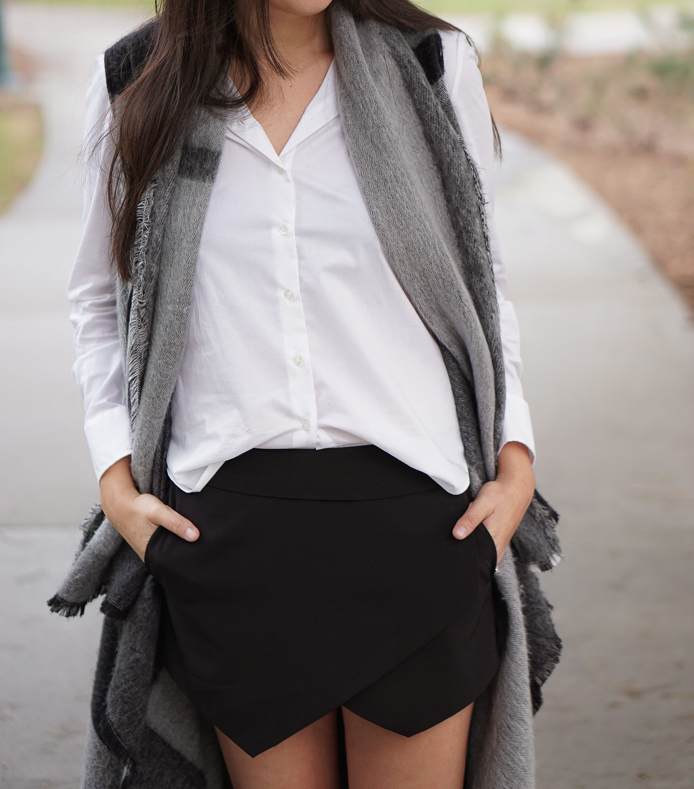Black Skort, Vogue Footwear Looking Sharp Flats, looking sharp Flats, Vogue Footwear shoes, Vogue Footwear Flats, Forever 21 Skort, Zara Asymmetrical Scarf Vest Poncho, Zara Grey Scarf, Joe Fresh White Blouse, Tuxedo Flats