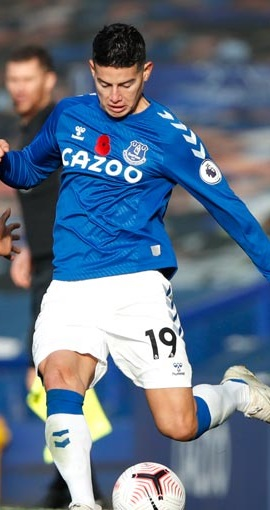 James Rodríguez pasó inadvertido en la derrota del Everton 3-1 con el United