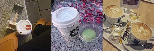Čaj z My Food Marketu, čokoláda z Butlers, káva a makronka z My Food marketu, cappuccino v Ikea