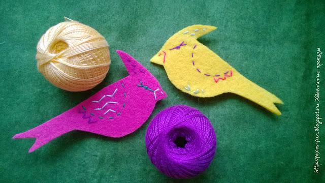 фетровые птички, птички из фетра, елочные украшения своими руками