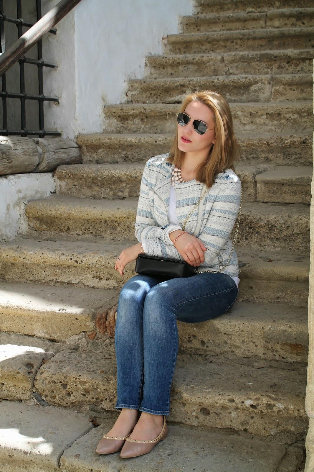 Fashionblogger / Fashionblogger Austria / Österreich / German / Deutsch / English / Kärnten / Carinthia / Köttmannsdorf / Blogger / Bloggerstyle / Streetstyle / Fashion / Look / Spring / Elegant / Hollenburg / Rosental / Jacket C&A Boucle / Ray Ban Aviator / Streetstyle / Mac / Levis Jeans / H&M Statement Necklace / Flats Valentino Forever 21 / Zara Bag /