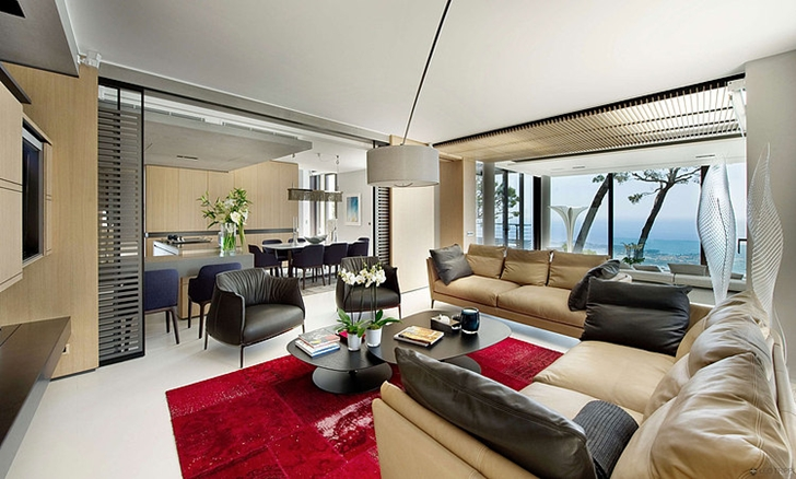 Interior of Modern Bayview Villa In French Riviera