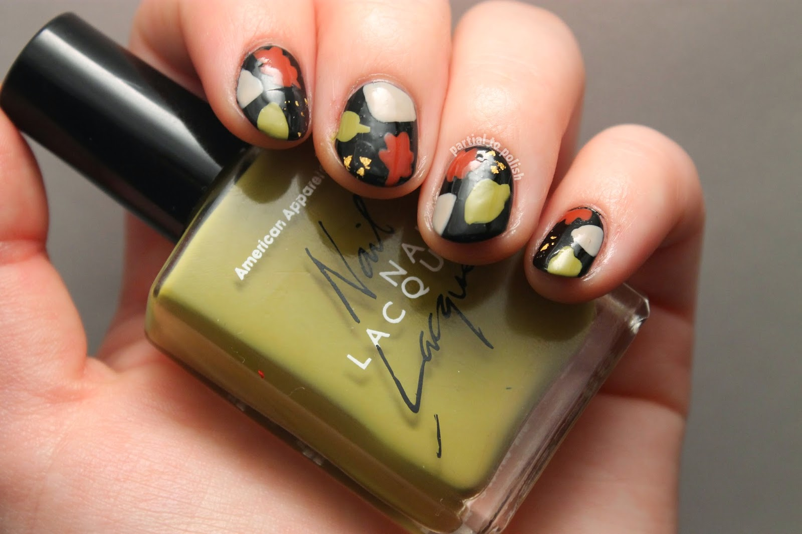 Simple Leaf Nail Art Inspired by Jaunty Juli & Sally Hansen Insta-Dri Top Coat Review