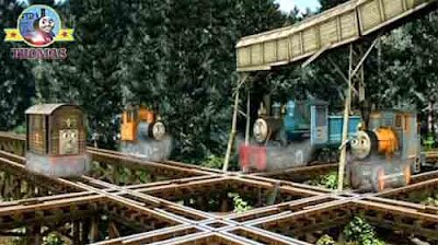 The four Misty Island steam trains Toby Bash Dash and Ferdinand the logging locomotives chuckled