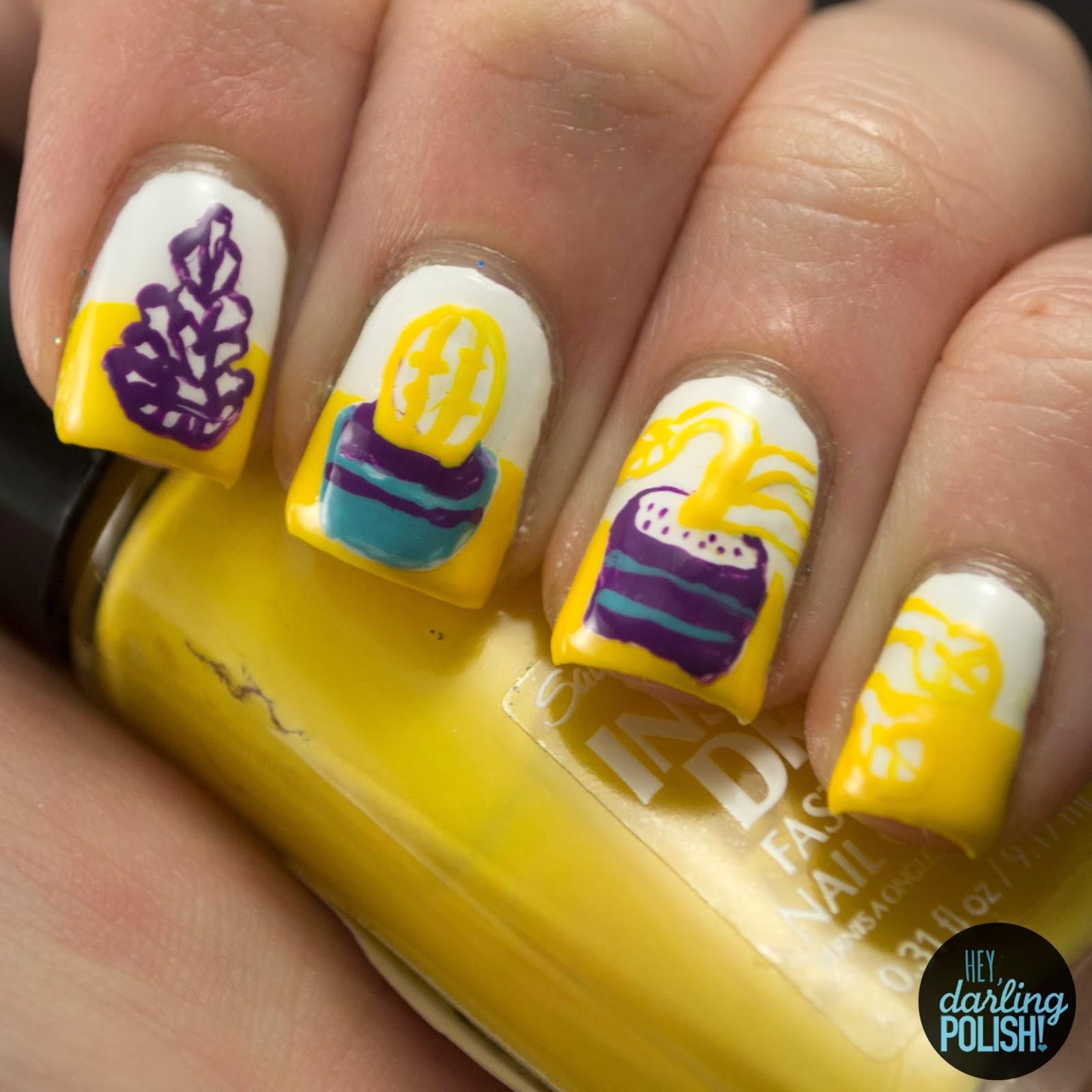nails, nail art, nail polish, polish, still life, nail art a go go, yellow, purple, blue, hey darling polish, art 101