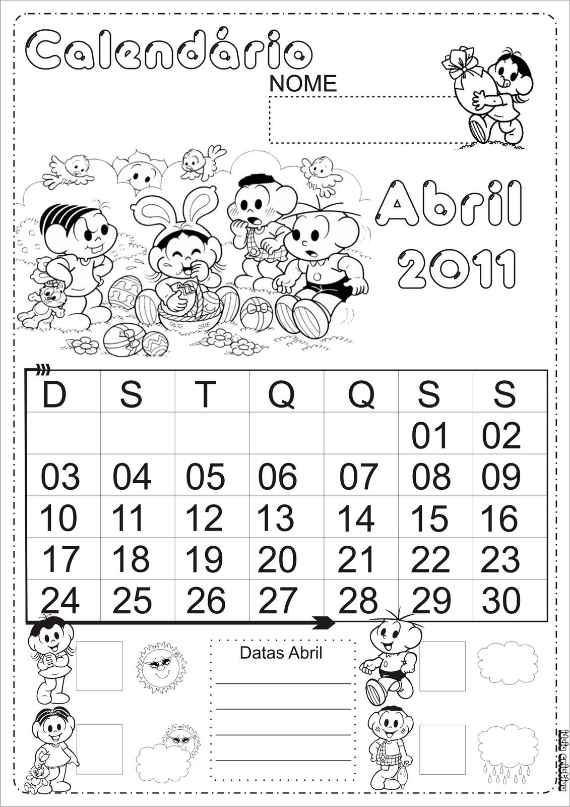 Calendário 2015- Turma da Mônica
