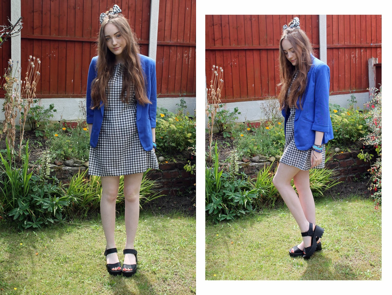 royal blue blazer with gingham smock dress, gingham hair bow and black cleated sole sandals