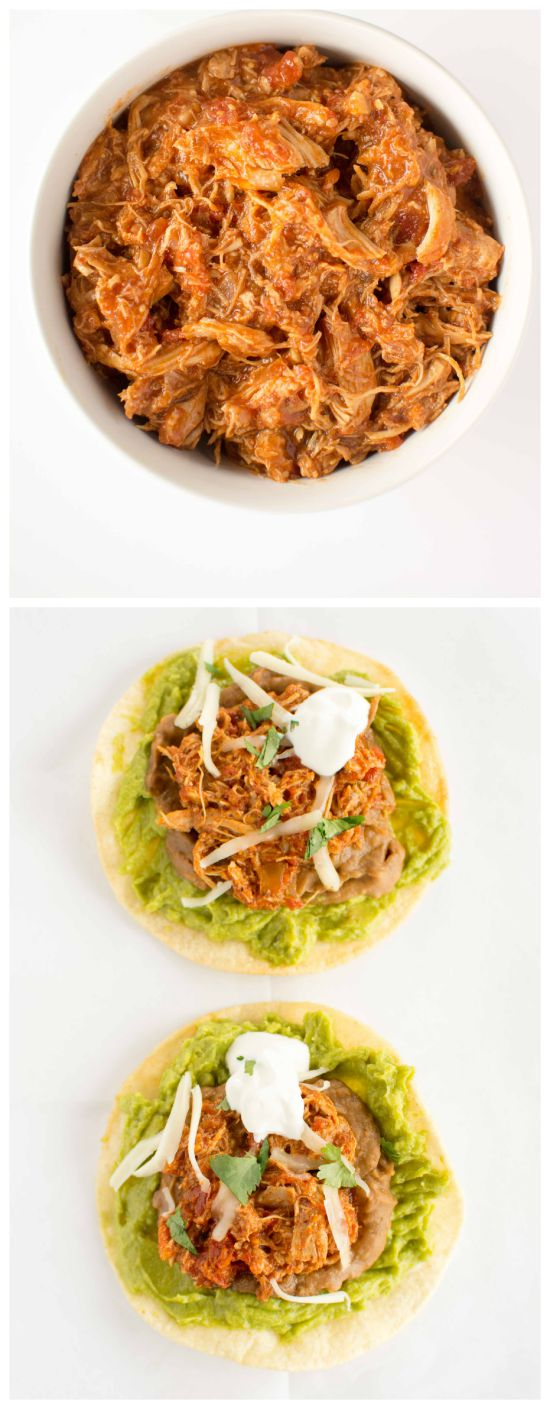 Crockpot Chicken Tinga Tostadas from Crockpot Gourmet featured on SlowCookerFromScratch.com