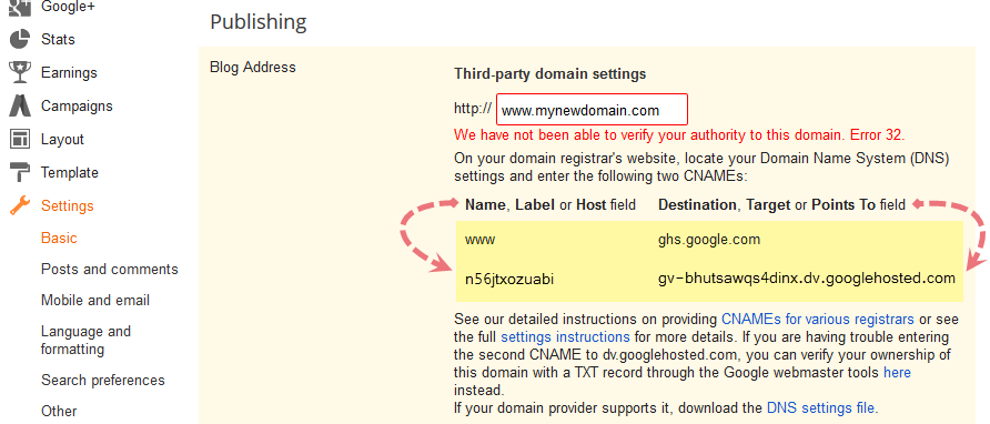setting up blogger custom domain