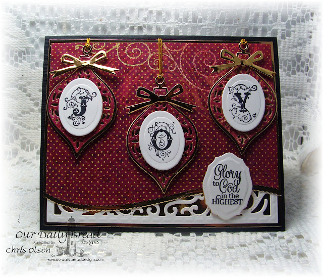 Our Daily Bread Designs, designed by Chris Olsen, Elegant Embellishments stamps and dies, Flourished Alphabet, Vintage Flourished Pattern die, leafy edged border die, Elegant ovals die, circle ornaments die