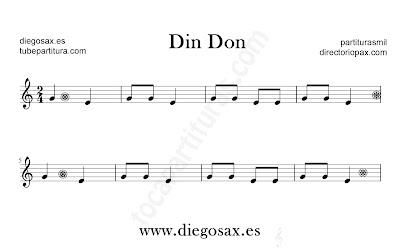Din Don partitura para flauta, violín, saxofón alto, trompeta, clarinete, soprano sax, tenor, oboe, corno inglés, trompa, fliscorno... en clave de Sol