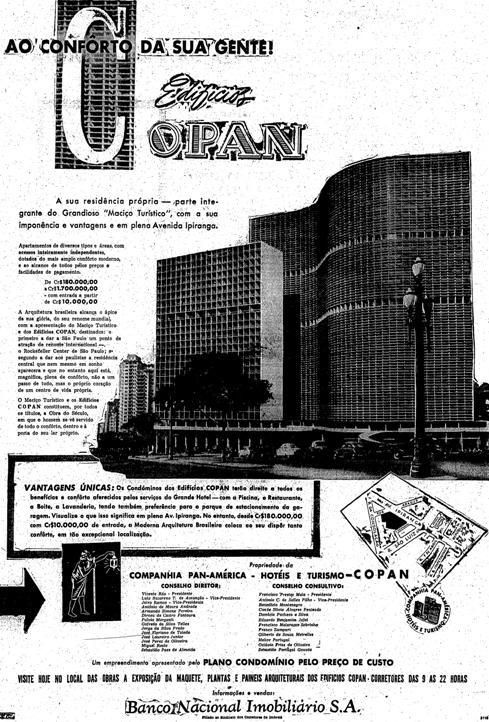 Propaganda do Edifício Copan, apresentado nos anos 60: imponência arquitetônica