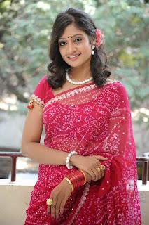 Sandeepthi in Red Saree Red Blouse at Sri Vasavi Kanyaka Paramesi movie press meet