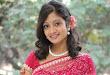 Sandeepthi glamorous pink saree photo shoot