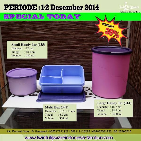 Special Today, Promo Diskon 30%, Promo Hari Ini Tulipware Tupperware Desember 2014