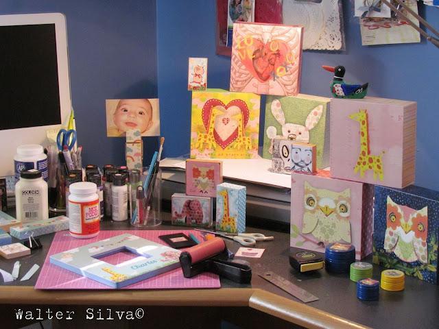 Walter Silva's Studio - My studio desk, where I decoupage my ART onto wood items.