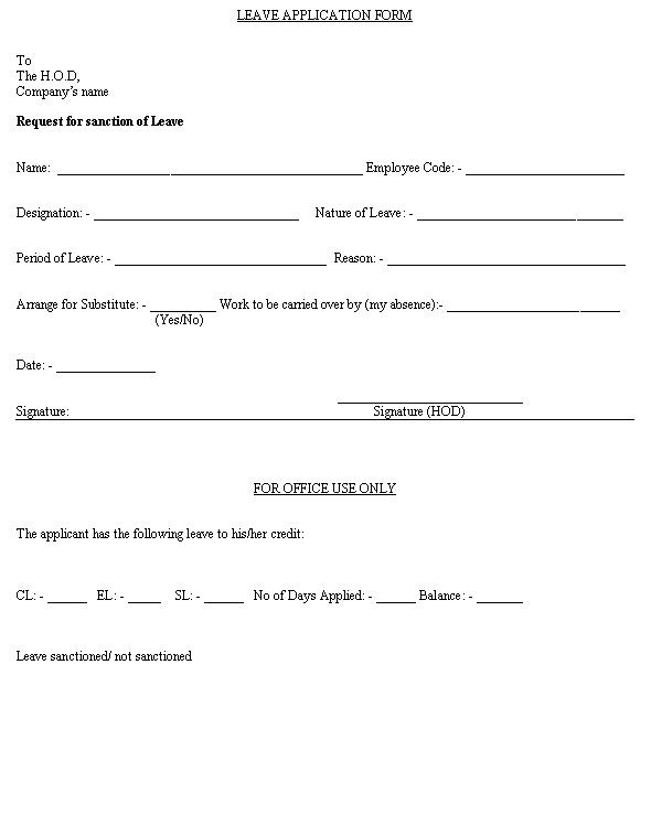 Leave Application Form Format