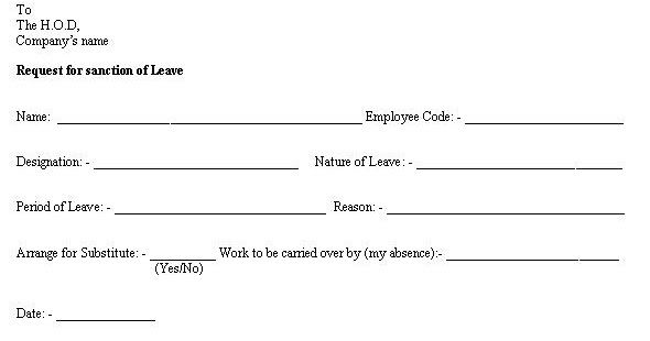 format of leave application form – Casual Leave Application