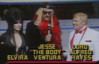 WWF / WWE WRESTLEMANIA 2 - The commentary team for the LA portion of the show included Jesse 'The Body' Ventura, Lord Alfred Hayes and TV star Elvira