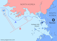 Map of the dispute between North Korea and South Korea over their maritime boundary