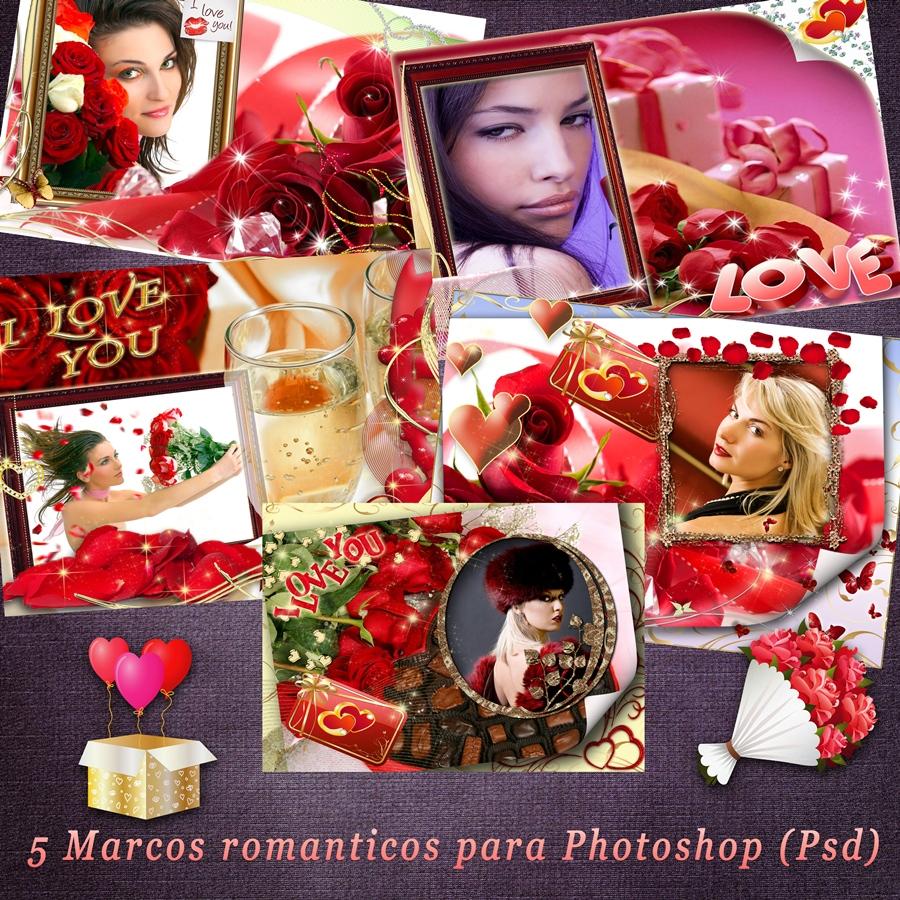 Recursos Photoshop Llanpac: 5 Marcos romanticos para enamorados (Psd)