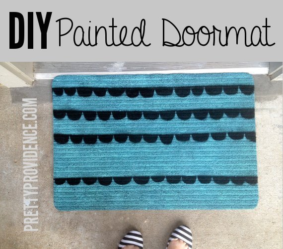 DIY doormat upgrade: Take a cheap door mat and spray paint a pretty pattern on it. Cheap and easy project! www.prettyprovidence.com