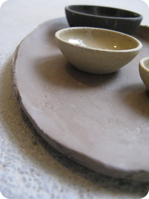 stoneware oil, pepper and salt set - work in progress...