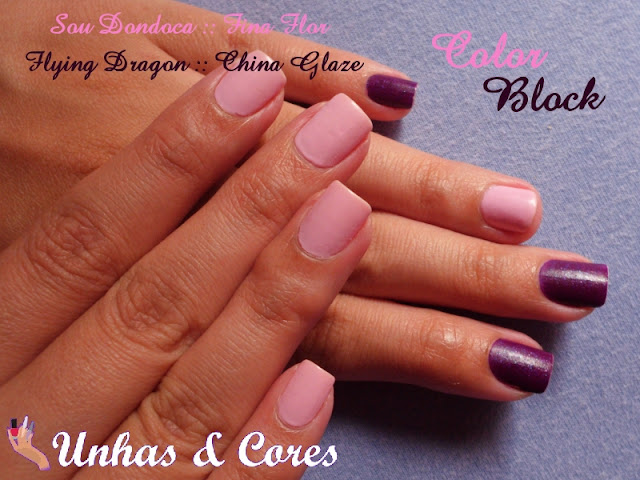 Unhas com esmaltes rosa e roxo.