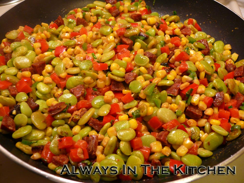 Chorizo Succotash on table and dishes